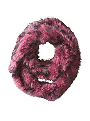 Jocelyn Women's Long Hair Rabbit Knitted Infinity Scarf, Berry Camouflage