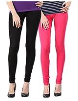 Blackmilan Women's Leggings (ZBMWL-1004-Black-Pink_Multi-Coloured_Small)
