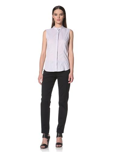 JIL SANDER NAVY Women's Stripe Button Front Shirt (Grey)