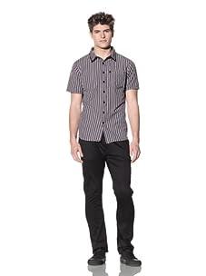 ZAK Men's Short Sleeve Woven Plaid Shirt (Navy)