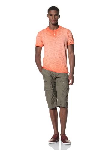 Projek Raw Men's Short Sleeve Crew Henley (Orange)