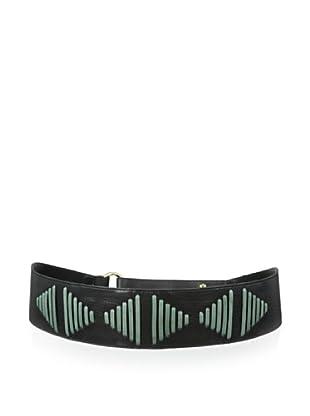 Luciana Verde Women's Wide Stitched Waist Belt (Black/Sage)