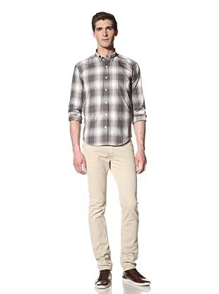 Bespoken Men's Button-Down Collar Plaid Shirt (Brown/Tan)