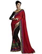 Indian Women Alluring Georgette Maroon Saree with Blouse