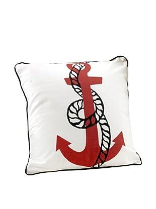 Anchor Design Throw Pillow, White/Red