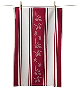 KAF Home Set of 2 Olive Jacquard Towels, Cherry
