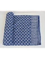 Worldoftextile Kantha Reversible Quilt★twin Size★made with Organic Cotton, Soft and Lightweight; Breathable and Absorbent; Durable and Eco Friendly★bedspread or Throw Blanket-blue
