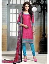 Saara Pink And Blue Printed Dress Material - 144D4045