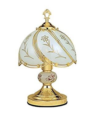 ORE International Floral 1-Light Touch Lamp, White/Gold
