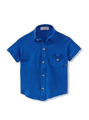 LA Lounge Boy's Knit Button-Up Shirt (Blue)
