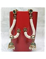 Elegant Antique Earrings with jhumki Carved with Stone And Beads