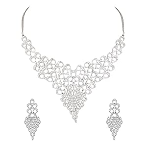 Scintillating Choker Necklace Set Encrusted With CZ Stones