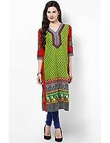 Zohraa Shree - Green And Red Cotton Kurti