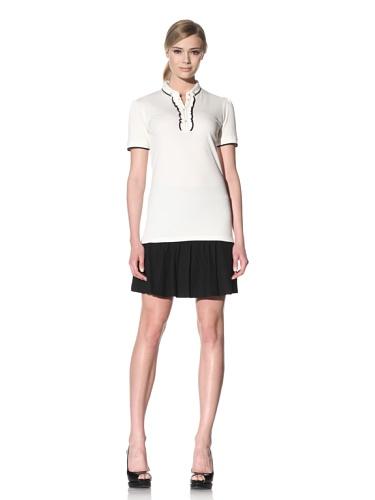 D&G by Dolce & Gabbana Women's Ruffle Placket Polo (White)