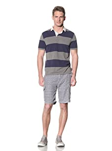 Barque Men's Engineered Stripe Polo with Contrast Collar (Navy/Grey)
