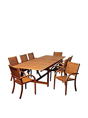 Amazonia Norton 9-Piece Eucalyptus Extendable Rectangular Dining Set, Brown