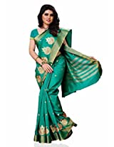 Meghdoot Traditional Artificial Tussar Silk Saree Turquoise Color