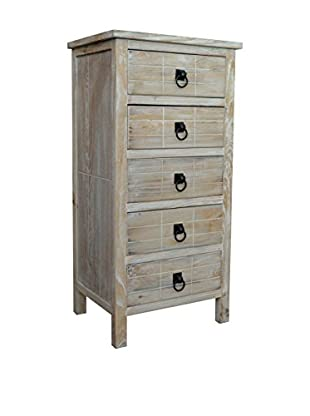 Gallerie Décor Driftwood 5-Drawer Cabinet, Weathered White