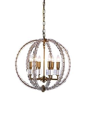 Urban Lights Cristal 6-Light Pendant Lamp, Burnished Brass