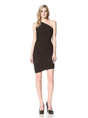 HALSTON HERITAGE Women's Ruched One-Shoulder Dress (Black)