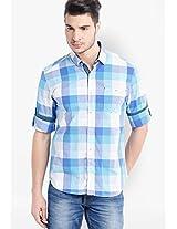 Aqua Blue Check Slim Fit Casual Shirt Locomotive