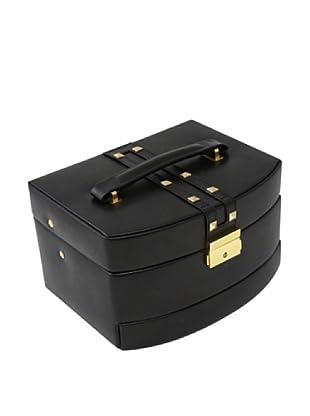 Bey-Berk 3-Level Studded Leather Jewelry Box, Black