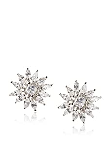 CZ by Kenneth Jay Lane marquis Button Earrings, Silver