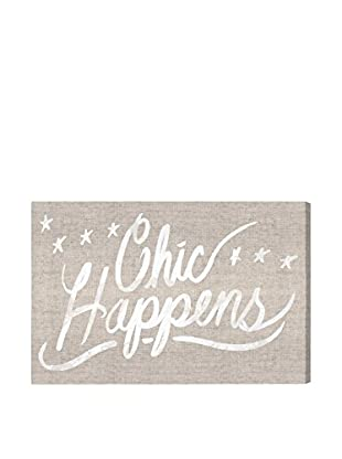 Oliver Gal 'Chic Happens Burlap' Canvas Art
