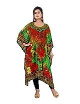 7 Colors Lifestyle Womens Georgette Kaftan (Aas7009Kfv1L _Multi-Coloured _Large)