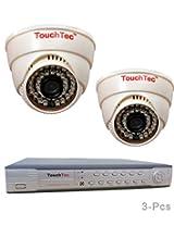TouchTec 4 Channel D1 DVR + Dome IR Camera , 800 TVL 3.6 MM Lens with stand-3 Pcs