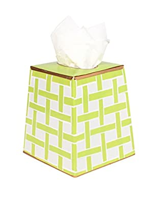 Jayes Basketweave Tissue Box Cover, Green