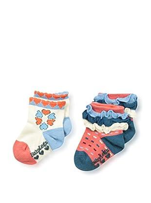 Baby Legs Kid's 2-Pack Infant Girls Sock (Cream/Red)