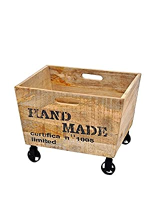 Asher Reclaimed Wood Cart, Tan/Black