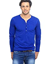 Solid Blue Henley T-Shirt