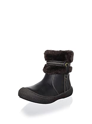 Billowy Kid's Faux Fur-Trimmed Ankle Boot (Brown)