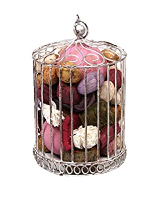 Jodhpuri Potpourri-Filled Wire Bird Cage, White Washed