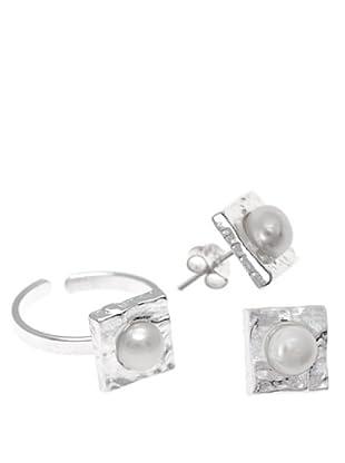 Silver One Conjunto Anillo y Pendientes Cuadrado Martelé
