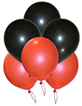 GrandShop 50262 Balloons Metallic HD Black & Red (Pack of 50)