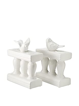 Ceramic Bird On Bannister Bookends, White