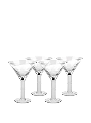 Crackle Martini Hand-Crafted Glass, Clear, Set of 4
