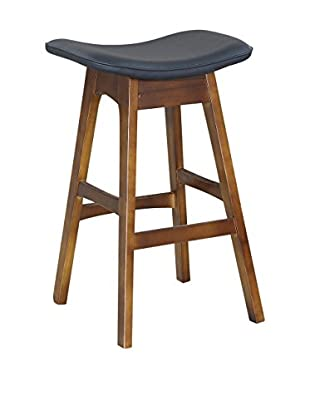 International Designs USA Saddle Bar Stool, Black
