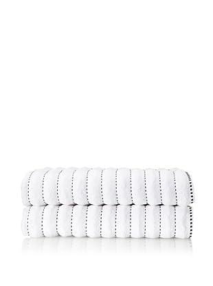 Famous International Stitches 2-Piece Bath Sheet Set (White/Black)