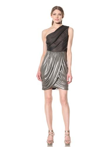 Vera Wang Women's One-Shoulder Draped Dress (Pewter)