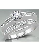 0.60TCW F /VVS1 Engagement Wedding Ring Set in 14k Gold