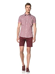 Dorsia Men's Ryan Short Sleeve Shirt (Red Checkered)