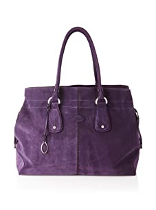 Tod's Women's Large Draw-Top Satchel, Purple