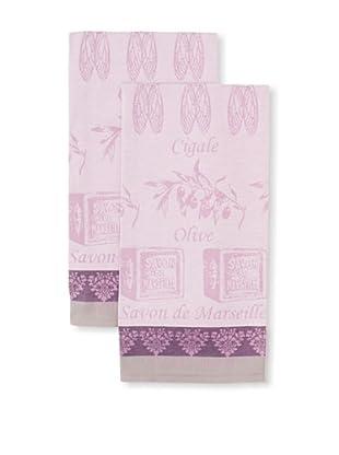 Garnier-Thiebaut Set of 2 Produits Provencaux Kitchen Towels, Olivette