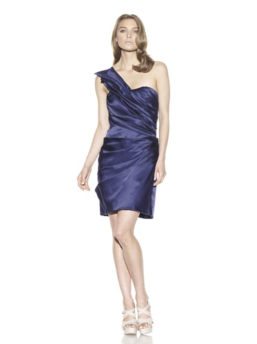 Christian Siriano Women's Pleated One Shoulder Dress (Blue)