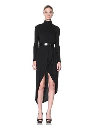 Doo.Ri Women's Tuck Drape Belted Turtleneck Dress (Black)