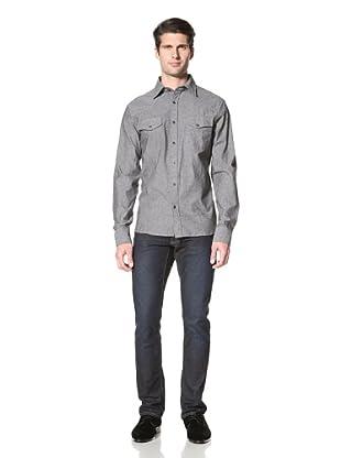 Dorsia Men's Daniel Long Sleeve Button-Up Shirt (Grey Chambray)